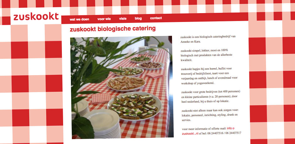 website Zuskookt biologische catering